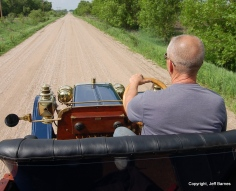 The 1907 was the last year for the steering wheel on the right. When cars were first built, a major concern was to not drive into the ditch; as the number of cars increase, more concern for them on the left.
