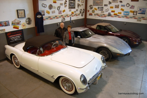 Janssen's 1953 Corvette with the 25th anniversary (1978) and 50th anniversary (2003) editions.